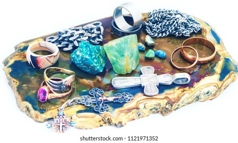 still-life with jewelry on white