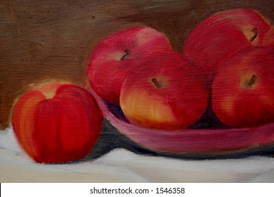 Still-life oil painting of apples