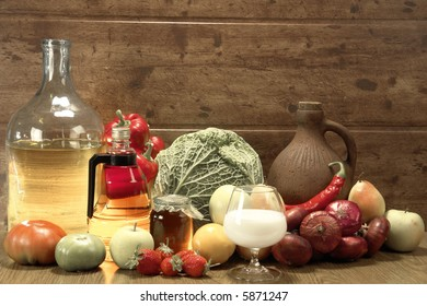 Still-life on a brown background