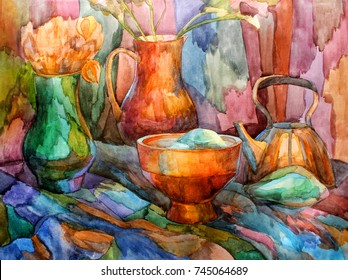 Still-life stained-glass watercolor