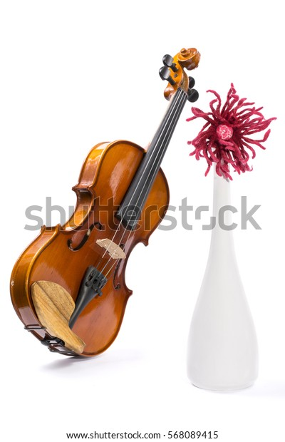 Still-life with a violin, a flower and a vase of white wool on a white background