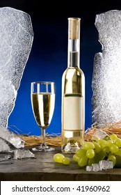 The still-life with white wine and ice