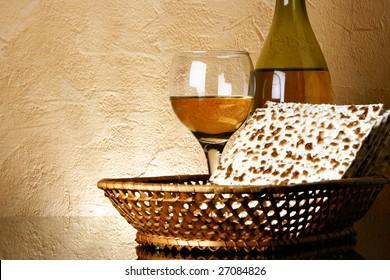 Still-life with wine and matzoh (jewish passover bread)