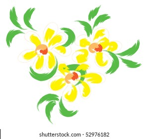Still-life with yellow flowers. Simulated of watercolor. Vector illustration.