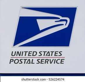 STILLWATER, MN/USA - NOVEMBER 20, 2016: United States Postal Service sign and logo.