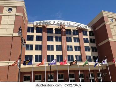STILLWATER, OKLAHOMA / USA – April 20, 2013: Boone Pickens Stadium on the campus of Oklahoma State University