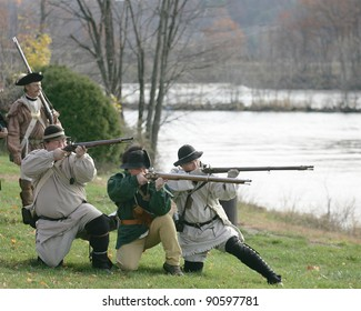STILLWATER,NY, USA - NOV 6: Revolutionary war soldiers prepare for battle at the annual Battle of Saratoga Reenactment on November 6, 2010 in Stillwater, NY, USA