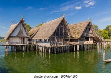 Stilt houses (Pfahlbauten), Stone and Bronze age dwellings in Unteruhldingen town, Baden-Wurttemberg state, Germany