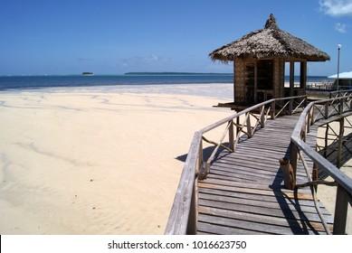 Stilt Hut on Boardwalk Bridge in Siargao Island