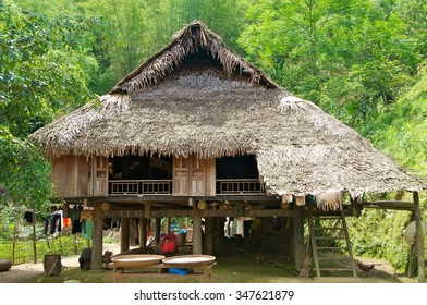 Stilted house of Muong ethnic minority in Pu Luong Nature Reserve, Thanh Hoa Province, Vietnam. These houses are made entirely of locally available materials.