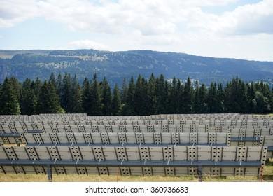 ST-IMIER, SWITZERLAND - CIRCA JULY 2015 Solar power station in Switzerland