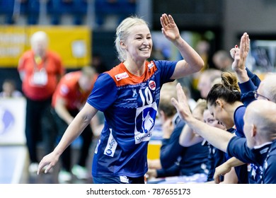 Stine Oftedal goal celebration for Norway during women handball game between Norway and Russia final score : 34 - 17 at IHF World Championship, Germany 2017 - Quarter Finals, Magdeburg on 13.12.2017