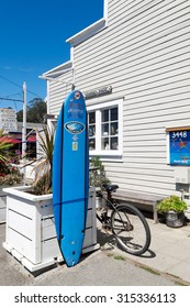STINSON BEACH, CA- Sept. 2, 2015: Surf shops and casual restaurants along the business district of this classic vintage beach town, a popular getaway about an hour north of San Francisco.