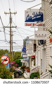 STINSON BEACH, CALIFORNIA/USA - MAY 24, 2018: Signs of small businesses along Shoreline Highway vie for the attention of beachgoers and tourists in this village near the San Francisco Bay area.