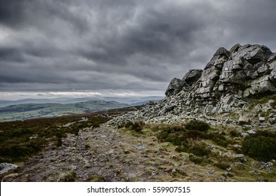 Stiperstones hills in the county of Shropshire, England. Showing the quartzite ridge and tors of the Highest Peak, Manstone Rock. Landscape.
