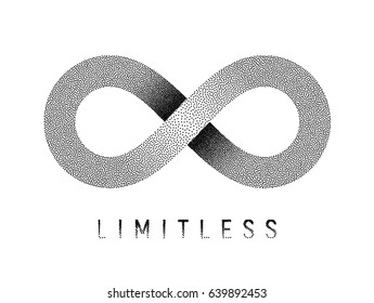 Stippled Limitless sign. Mobius strip symbol. Textured illustration on white background.