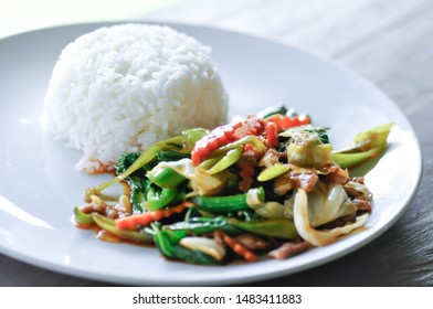 stir fied vegetable , stir-fied vegetable with rice or mixed vegetable