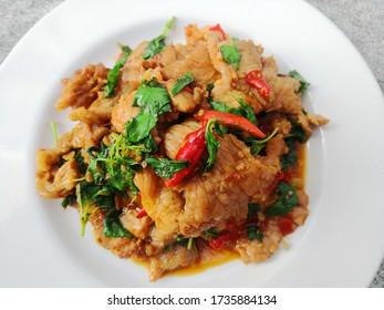 Stir fried basil with pork