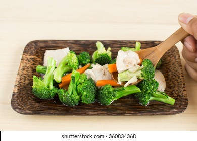 Stir fried broccoli in oyster sauce.