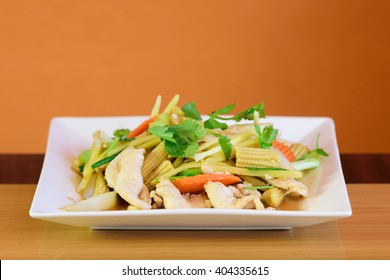 Stir fried chicken, ginger and mixed vegetables