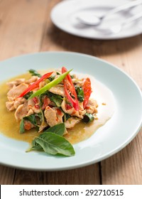 Stir Fried Chicken with Holy Basil. Kra-pao-kai is the Thailand food name