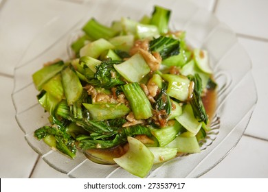 Stir fried Chinese cabbage ready to be served