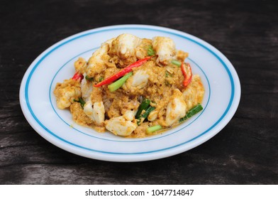 Stir Fried Crab Meat with Curry  (Puu Pad Pong Karee), Thai food