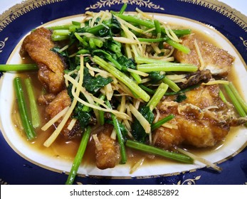 Stir fried crispy fish with oyster sauce and celery