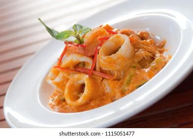 stir fried curry powder squid with salted egg yolk