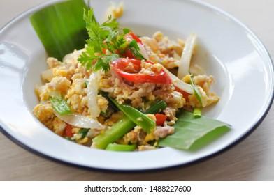 stir fried egg and minced pork or stir fried egg and fermented pork, Thai food
