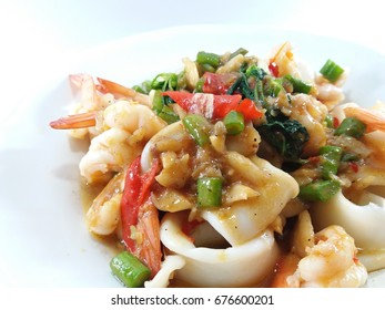 Stir fried holy basil with seafood thai food