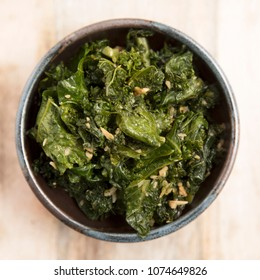 Stir fried kale with ginger and garlic flat lay.