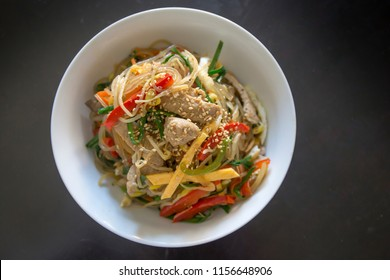 Stir fried Korean glass noodle with soy sauce called Japchae