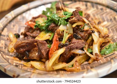 Stir Fried Lamb with Chilli Sauce and Onion, Asian Food, Chinese Food, Sydney, Australia.