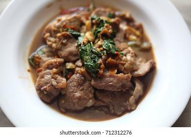 Stir fried pork with basil