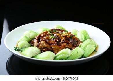 Stir fried pork with bok choy