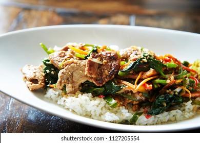 Stir fried pork on rice