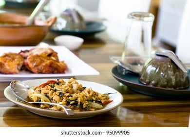 Stir fried pork whit basil