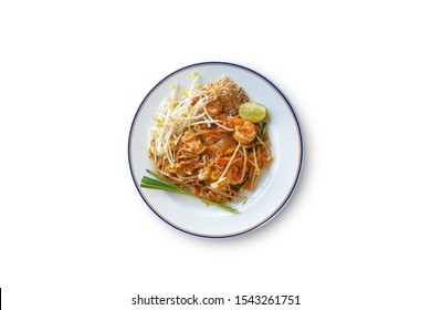 Stir Fried Rice Noodle with shrimp isolated on white background with clipping path.Pad Thai.Pad Thai is a food that is very popular in Thailand.