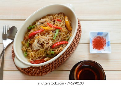 stir fried shirataki noodles with pork belly and bell peppers