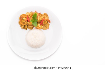 Stir fried shrimp and green curry with rice