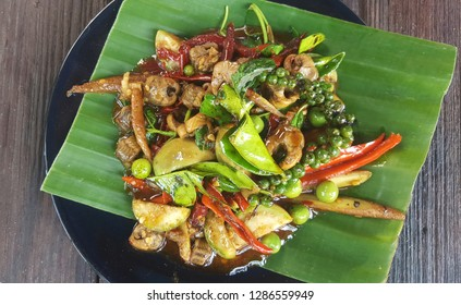 Stir Fried spicy eel with Herbs and Thai pepper soft, Thai food