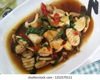Stir fried spicy mixed mushroom with basil /Thai vegetarian food
