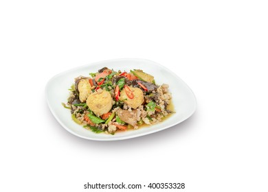 Stir fried tofu with minced pork isolated on white,clipping path.