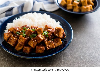 stir fried tofu with spicy sauce - healthy and vegan food style