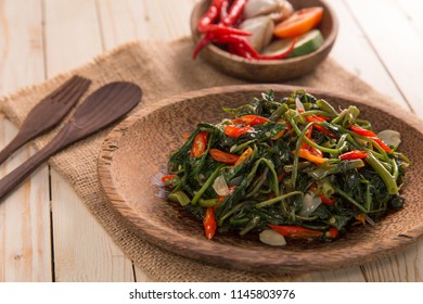 Stir fried water spinach or cah kangkung. asian indonesian food