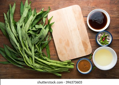 Stir Fried Water Spinat, Pad Pak Bung Fai Daeng, Food-asian.
