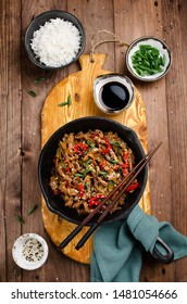 Stir fry beef, sweet peppers, onions and garlic. Asian cuisine