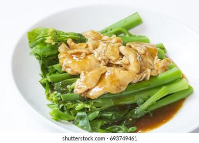 Stir fry chicken with gay lan