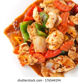Stir fry chicken spicy sauce with vegetable